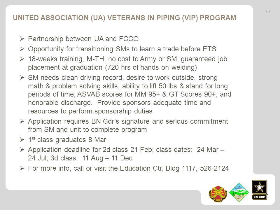 United Association (UA) Veterans in Piping (VIP) Program