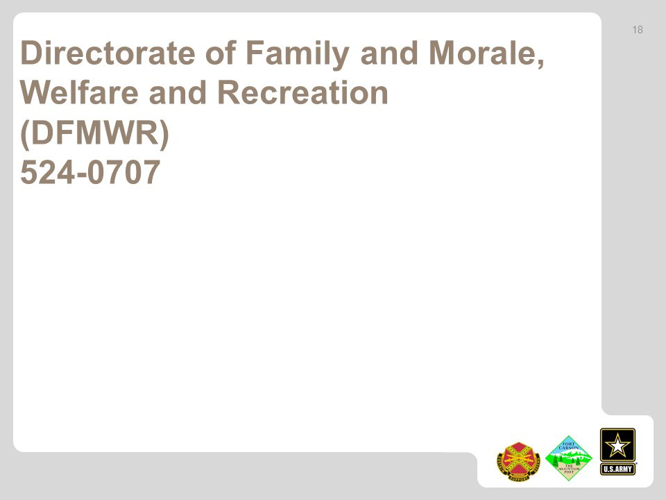 Directorate of Family and Morale, Welfare and Recreation (DFMWR)