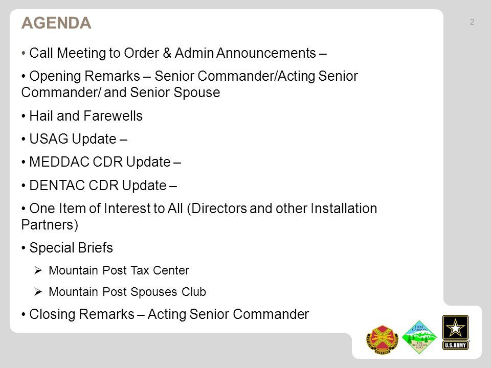 Agenda Call Meeting to Order & Admin Announcements –