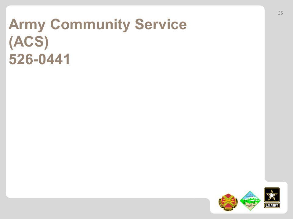Army Community Service (ACS) 526-0441