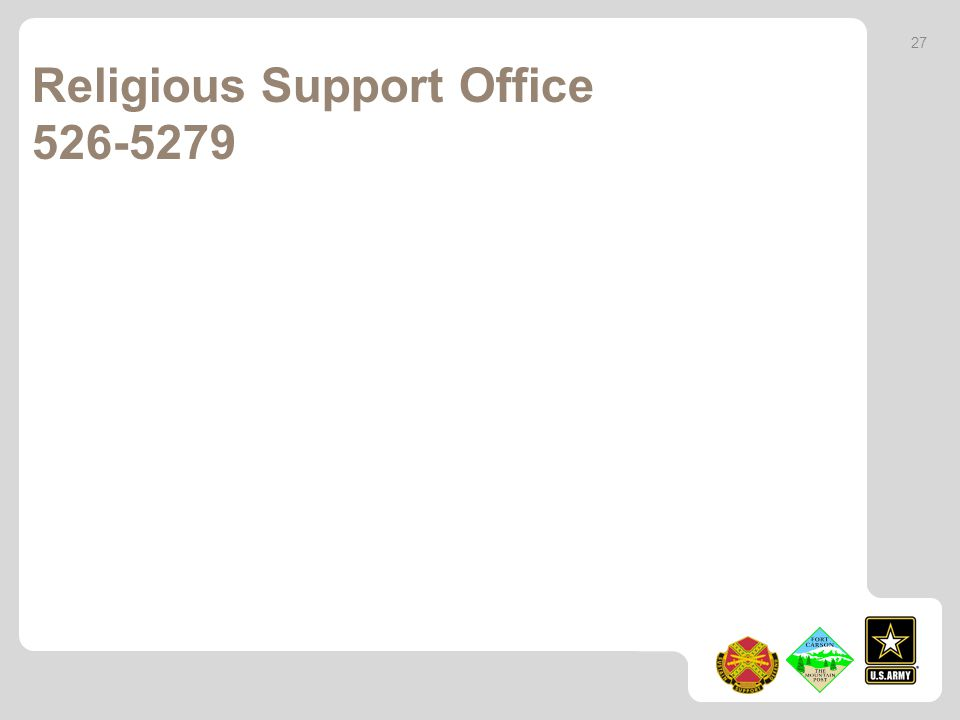Religious Support Office 526-5279