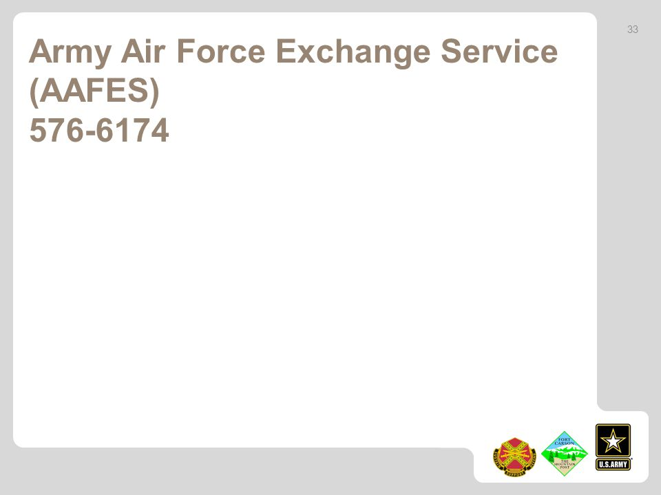 Army Air Force Exchange Service (AAFES) 576-6174