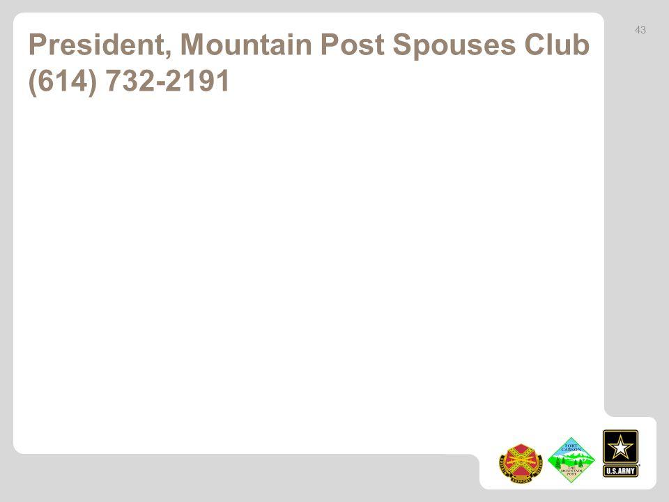 President, Mountain Post Spouses Club