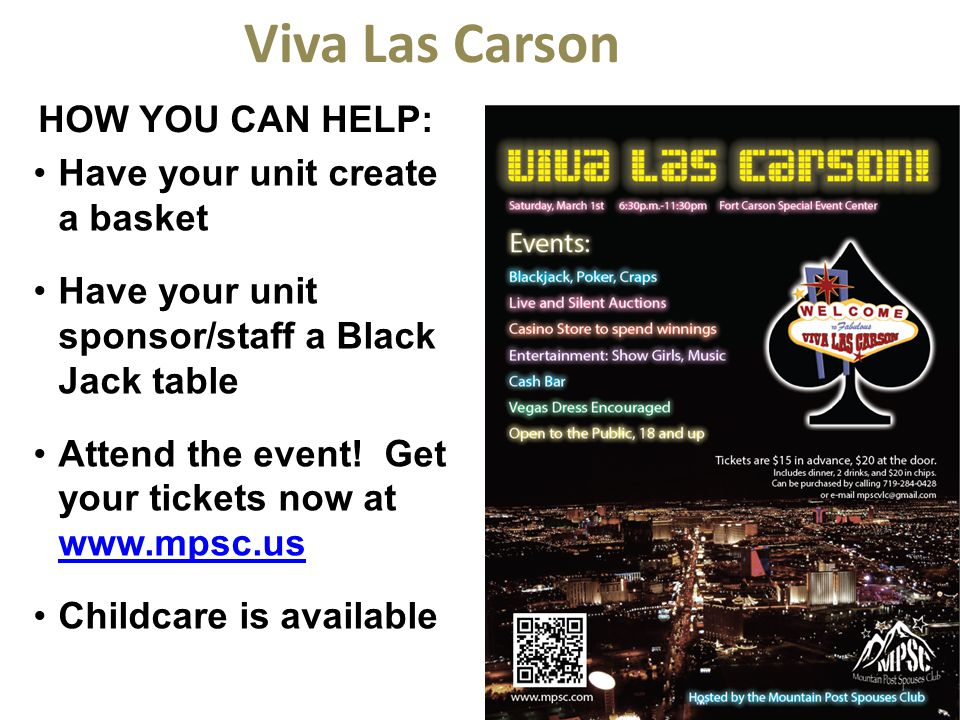 Viva Las Carson How you can help: Have your unit create a basket