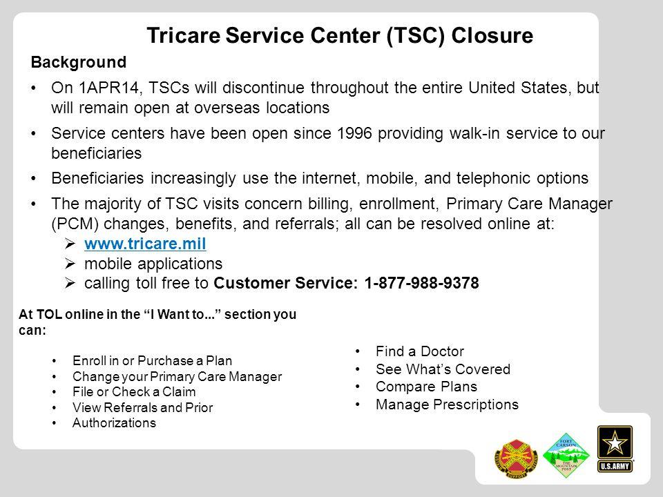 Tricare Service Center (TSC) Closure