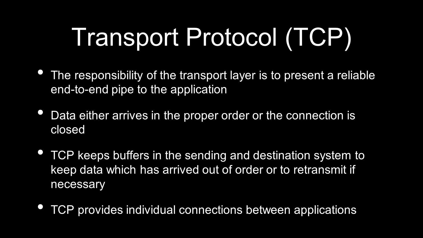 Transport Protocol (TCP)