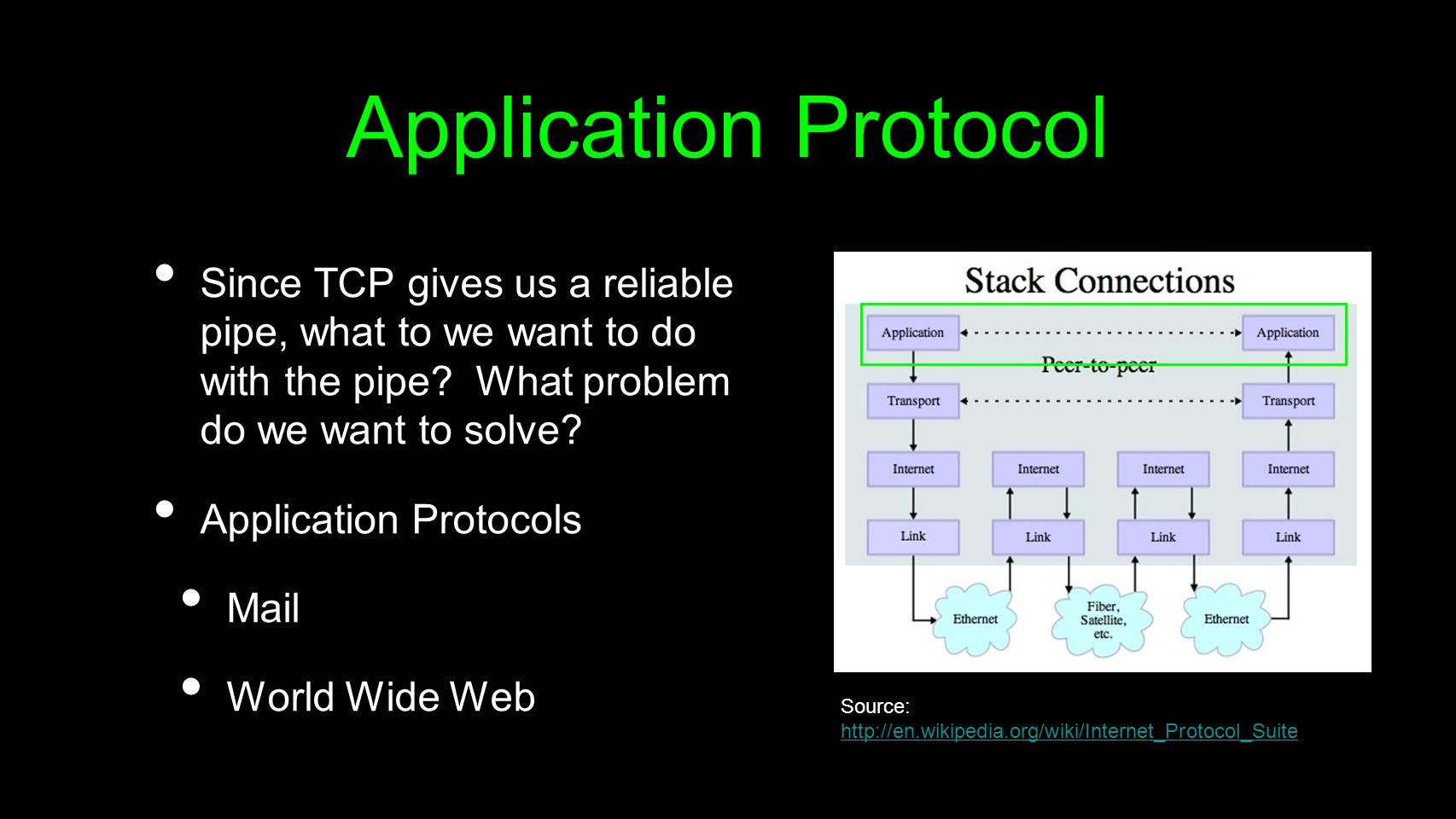 Application Protocol Since TCP gives us a reliable pipe, what to we want to do with the pipe What problem do we want to solve