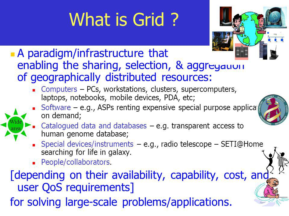 What is Grid A paradigm/infrastructure that enabling the sharing, selection, & aggregation of geographically distributed resources: