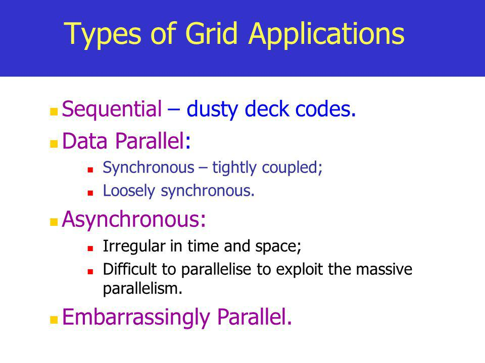 Types of Grid Applications