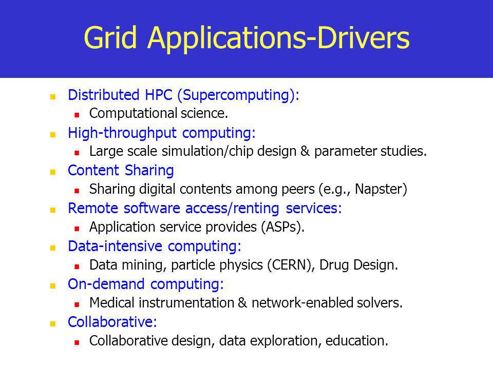 Grid Applications-Drivers