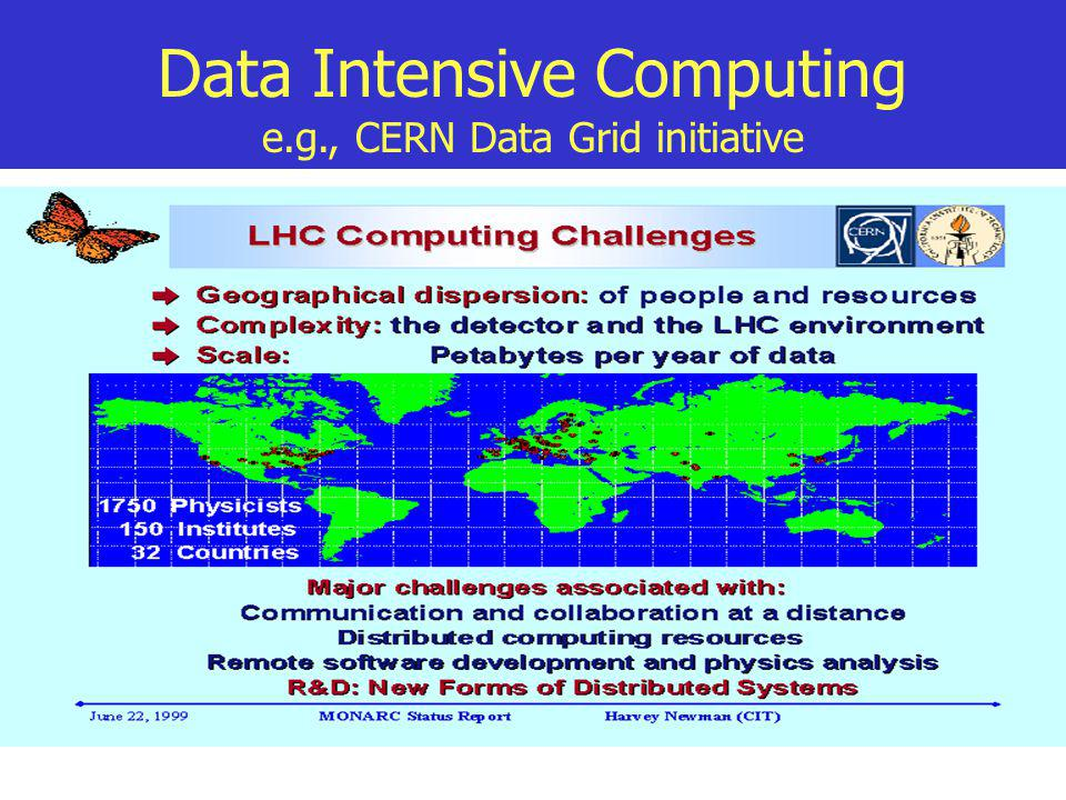 Data Intensive Computing e.g., CERN Data Grid initiative