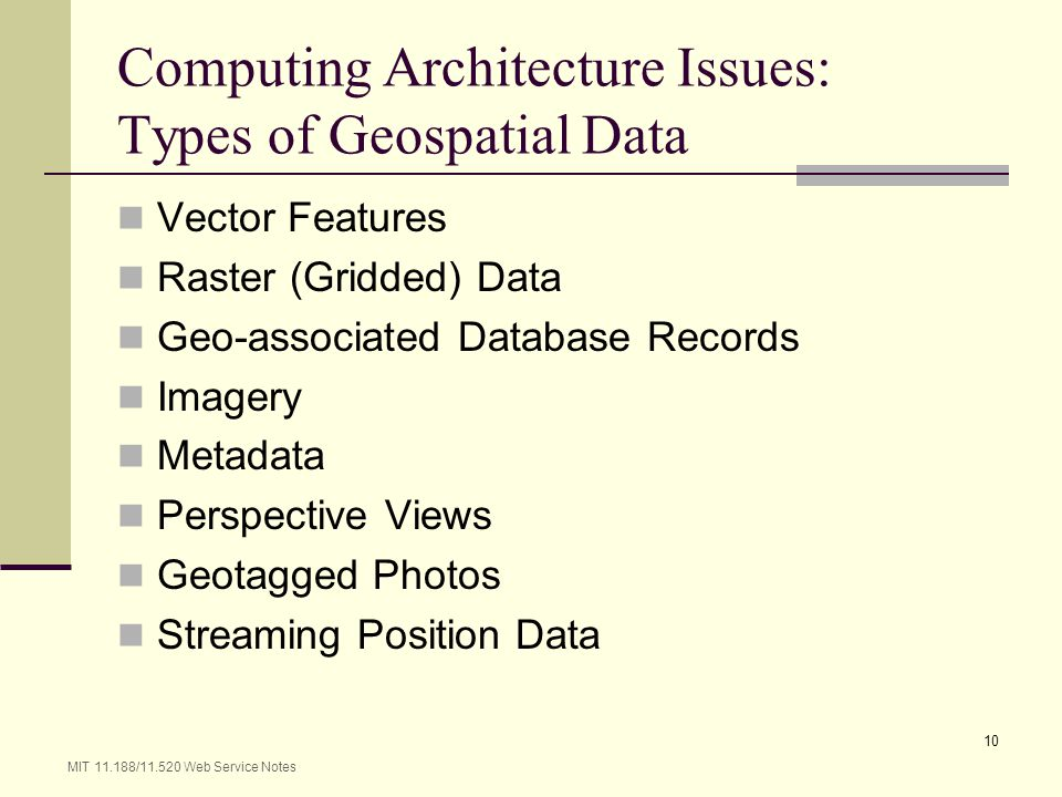 Computing Architecture Issues: Types of Geospatial Data