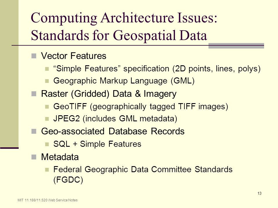 Computing Architecture Issues: Standards for Geospatial Data