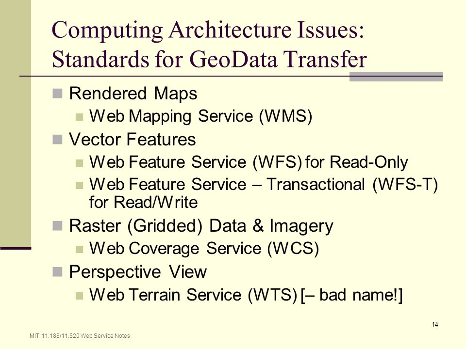 Computing Architecture Issues: Standards for GeoData Transfer