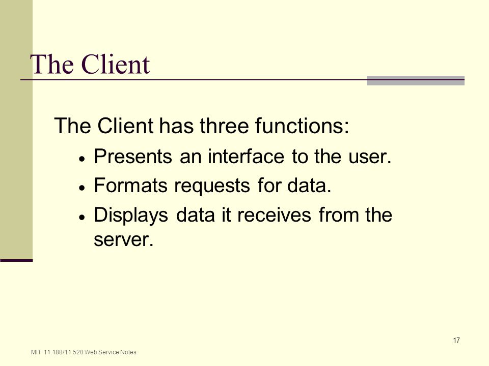 The Client The Client has three functions: