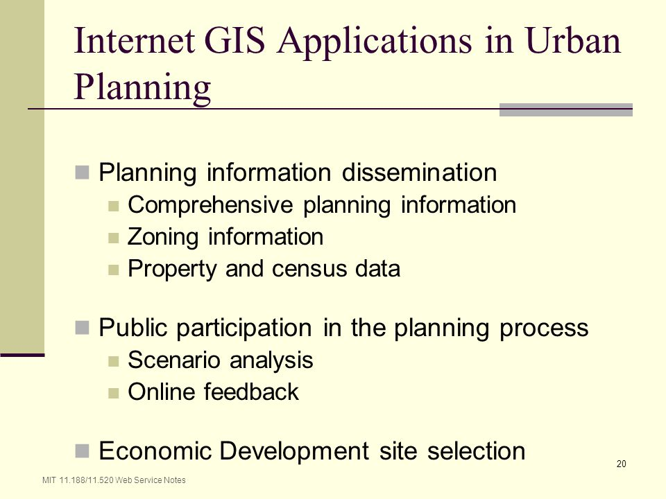 Internet GIS Applications in Urban Planning