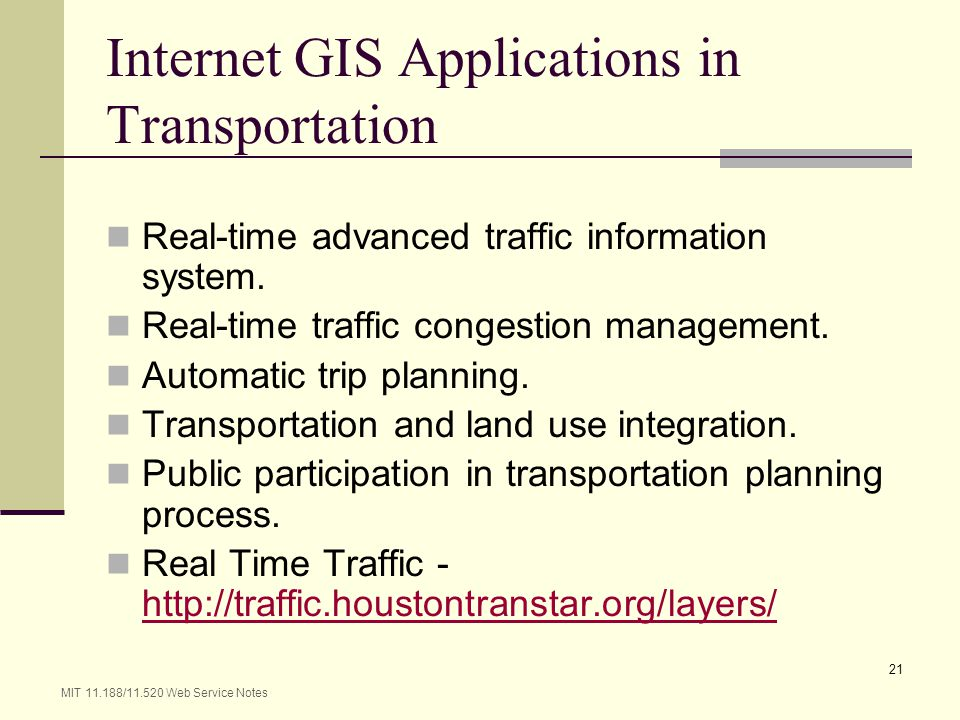 Internet GIS Applications in Transportation