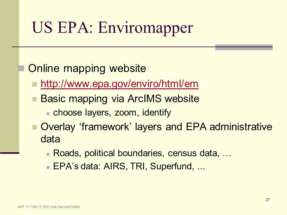 US EPA: Enviromapper Online mapping website