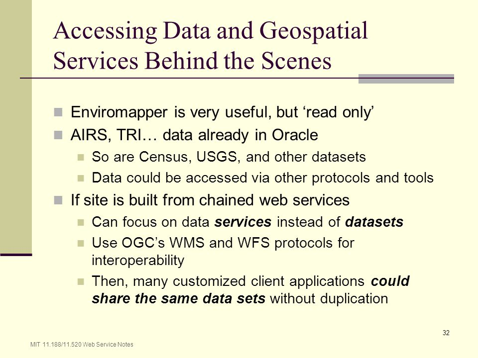 Accessing Data and Geospatial Services Behind the Scenes