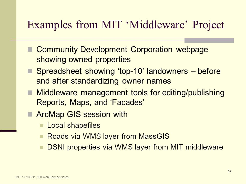 Examples from MIT 'Middleware' Project