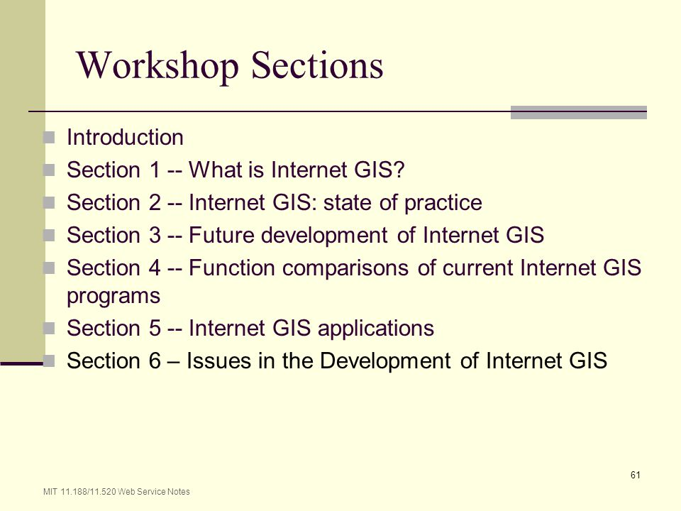 Workshop Sections Introduction Section 1 -- What is Internet GIS
