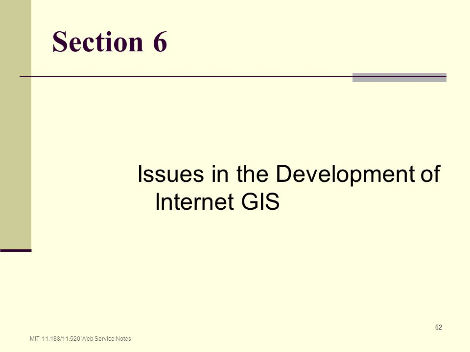 Section 6 Issues in the Development of Internet GIS