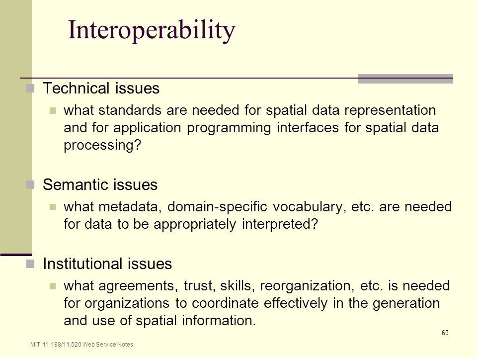 Interoperability Technical issues Semantic issues Institutional issues