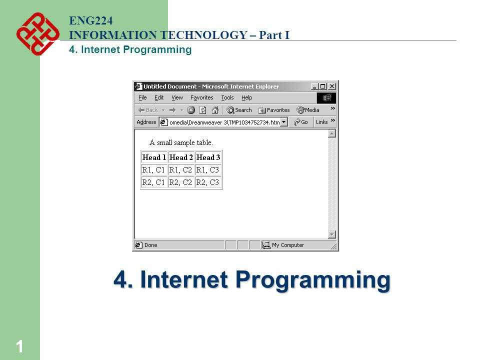4. Internet Programming ENG224 INFORMATION TECHNOLOGY – Part I