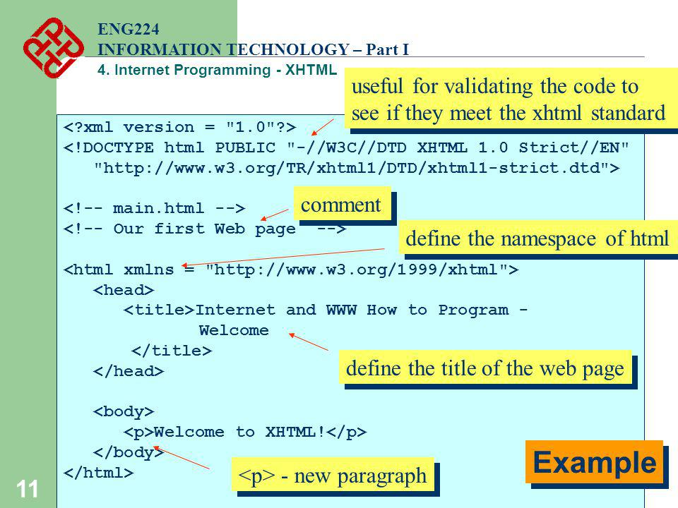 ENG224 INFORMATION TECHNOLOGY – Part I. 4. Internet Programming - XHTML. useful for validating the code to see if they meet the xhtml standard.