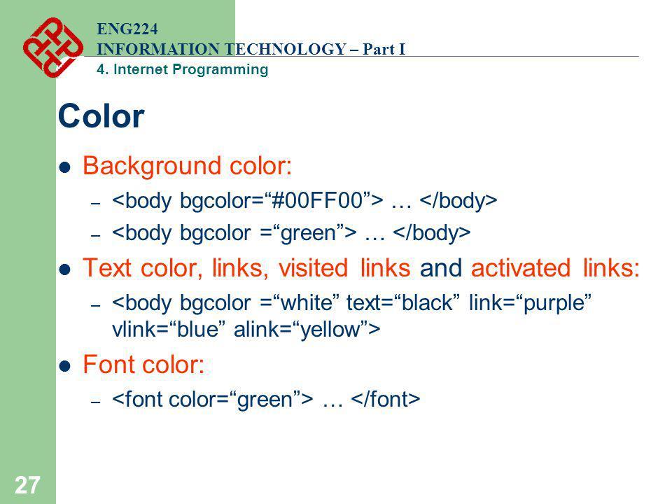 Color Background color: