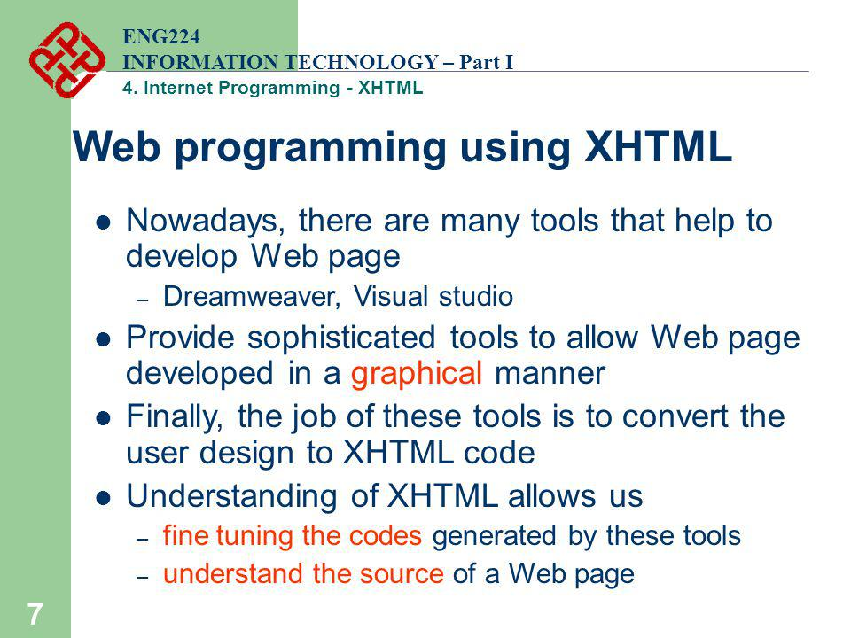 Web programming using XHTML
