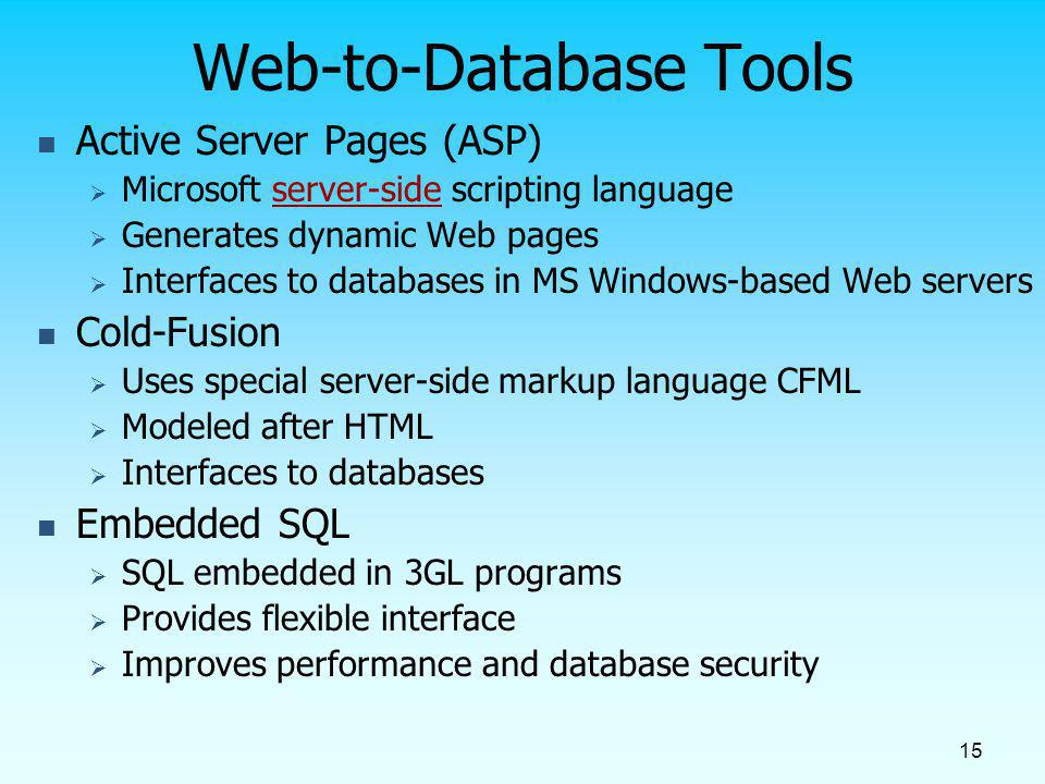Web-to-Database Tools