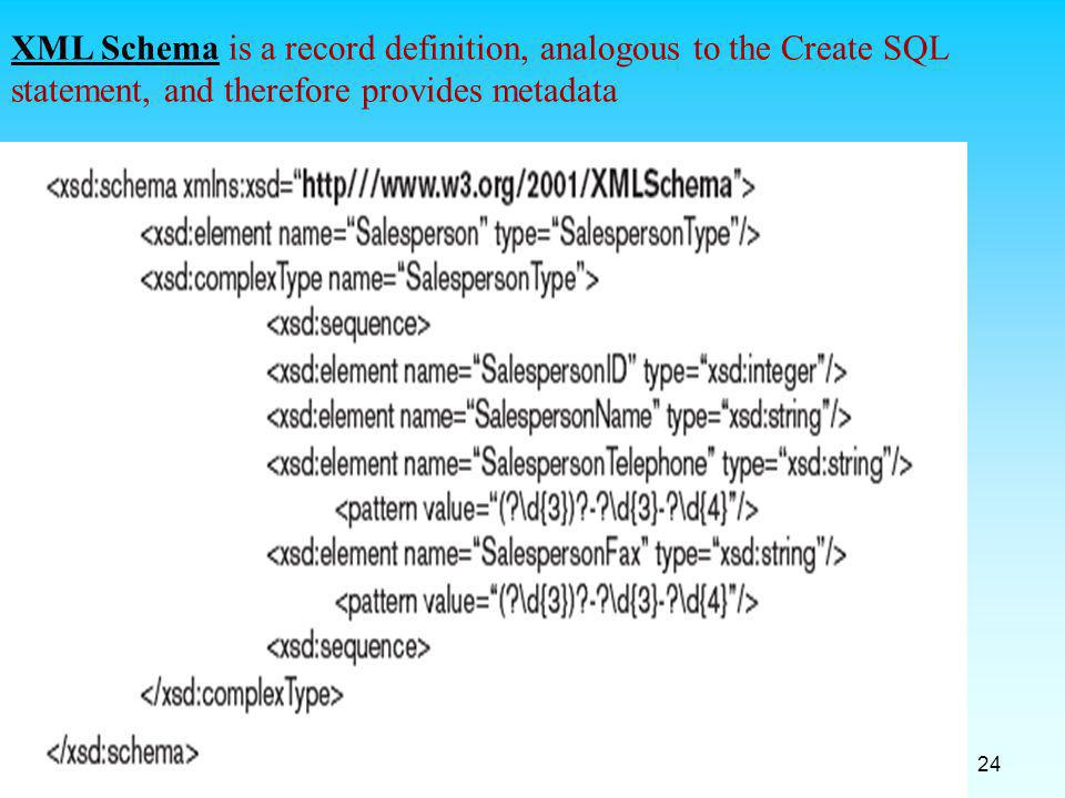 XML Schema is a record definition, analogous to the Create SQL statement, and therefore provides metadata