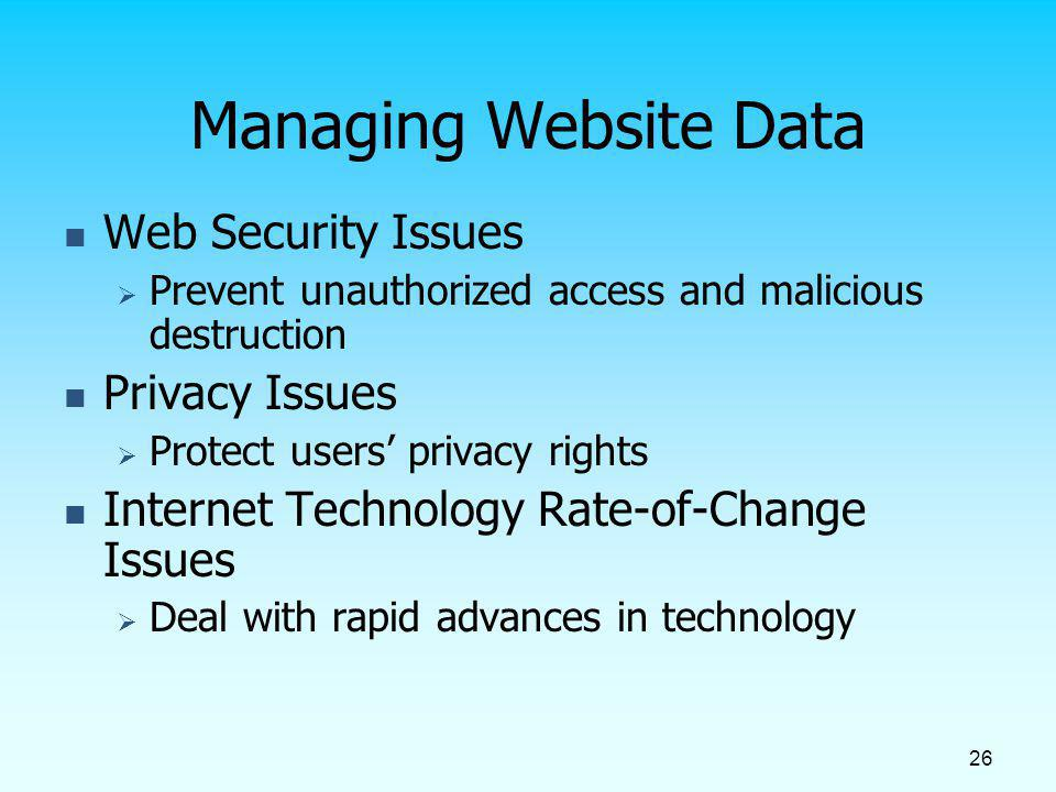 Managing Website Data Web Security Issues Privacy Issues