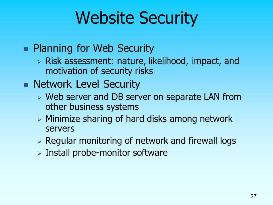 Website Security Planning for Web Security Network Level Security