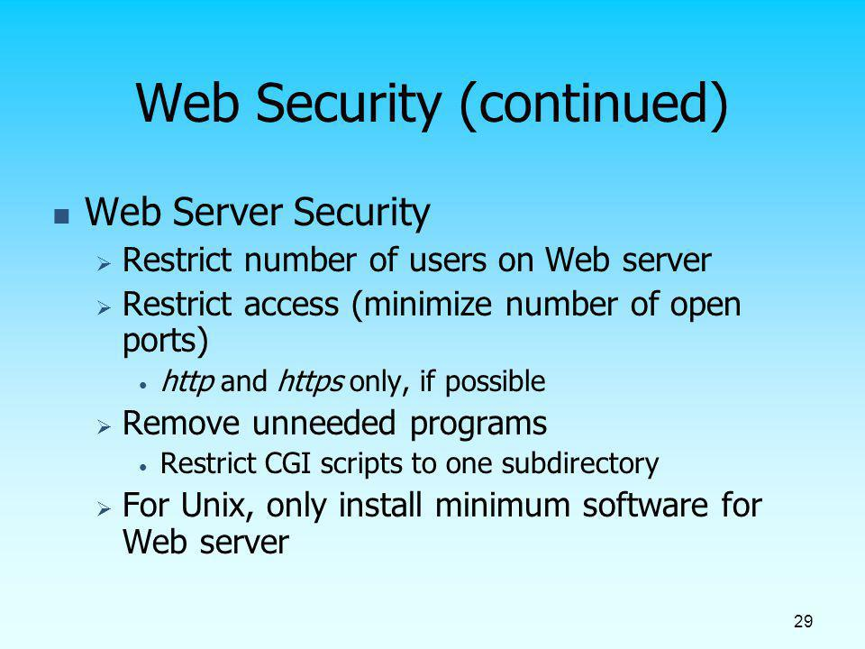 Web Security (continued)
