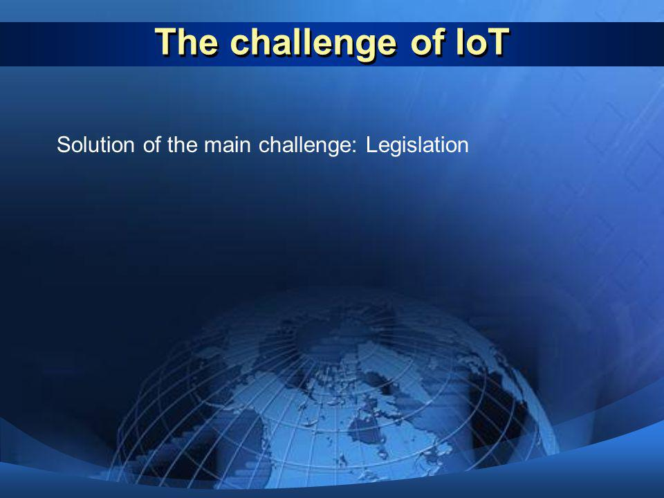 The challenge of IoT Solution of the main challenge: Legislation