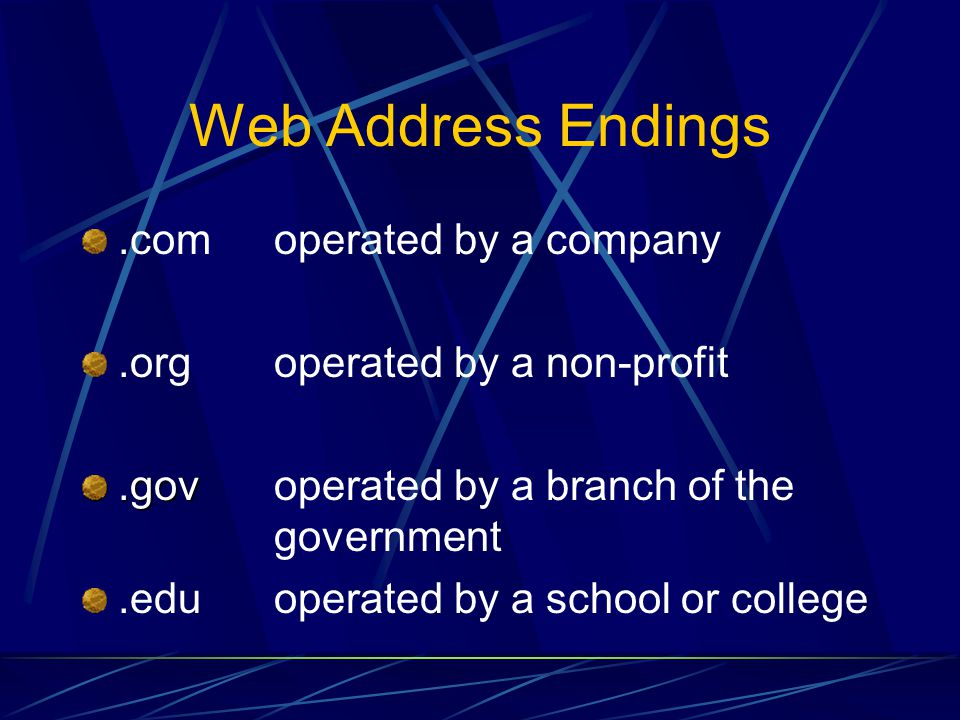 Web Address Endings .com operated by a company