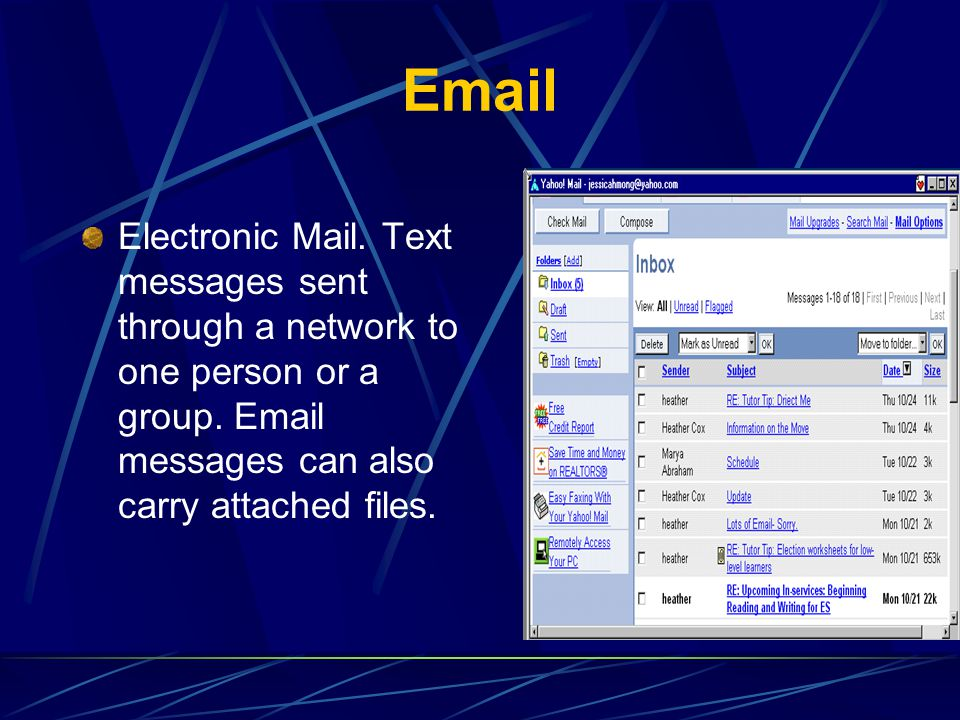 Email Electronic Mail. Text messages sent through a network to one person or a group. Email messages can also carry attached files.