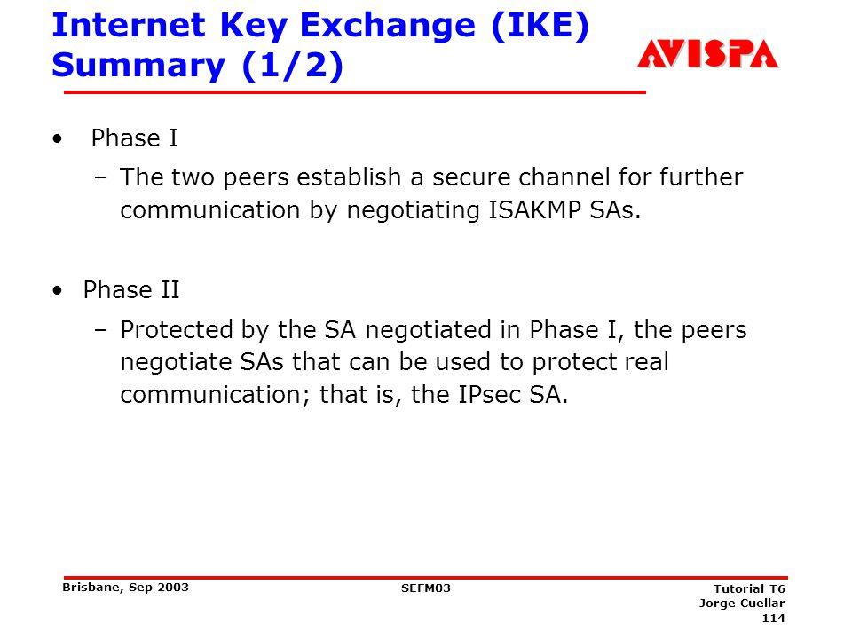 Internet Key Exchange (IKE) Summary (2/2)