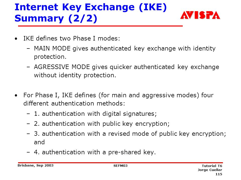 IKEv2 – What's new (1/2) Number of authentication modes reduced : Only one public key based and a pre-shared secret based method.