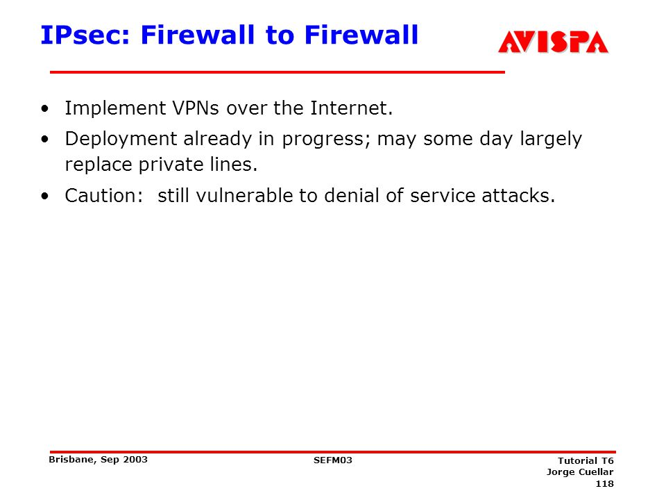 IPsec: Host to Firewall