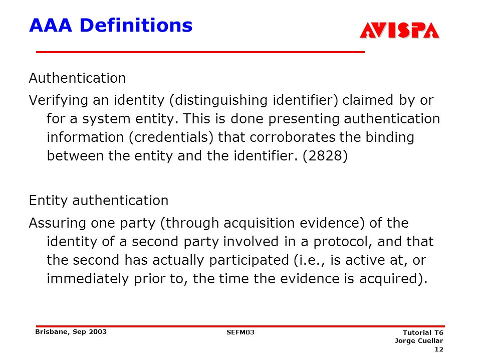 AAA Definitions Message authentication