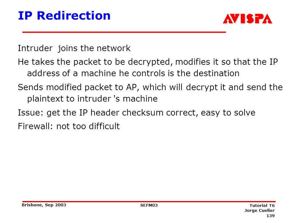 Reaction Attacks Assume the packet to be decrypted is a TCP packet