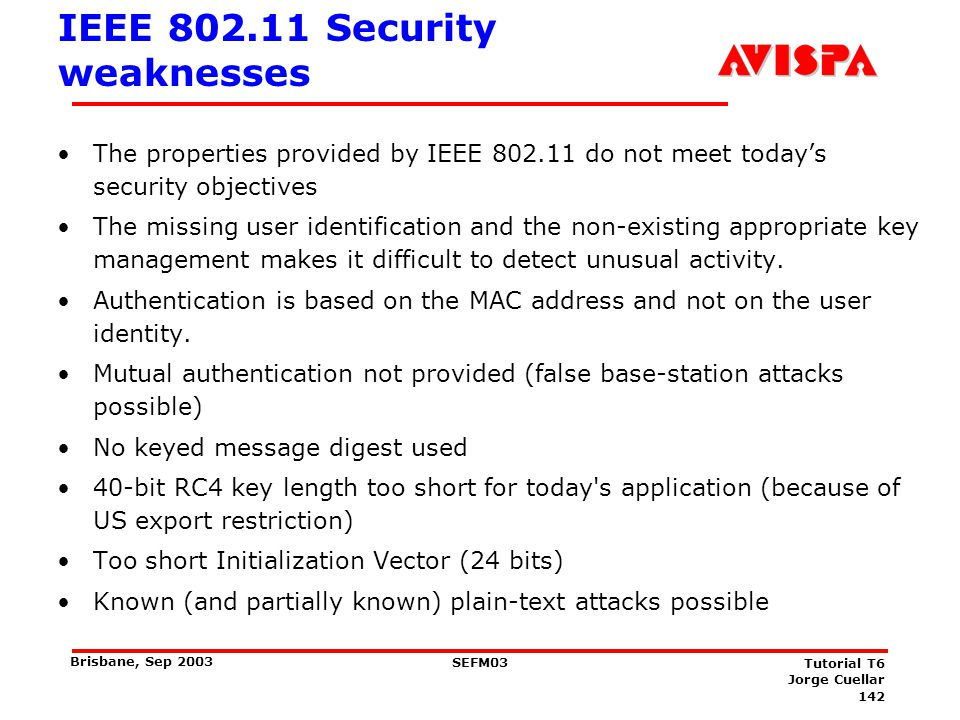 Current Status of WLAN Security