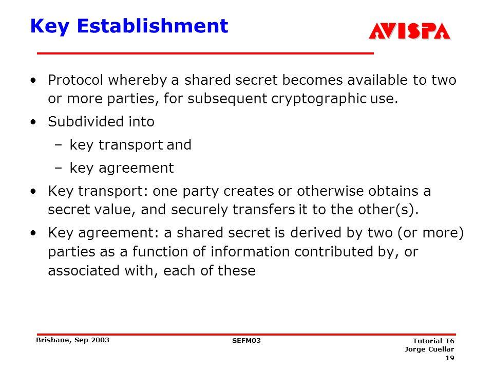 Key Establishment Authentication term Central focus authentication