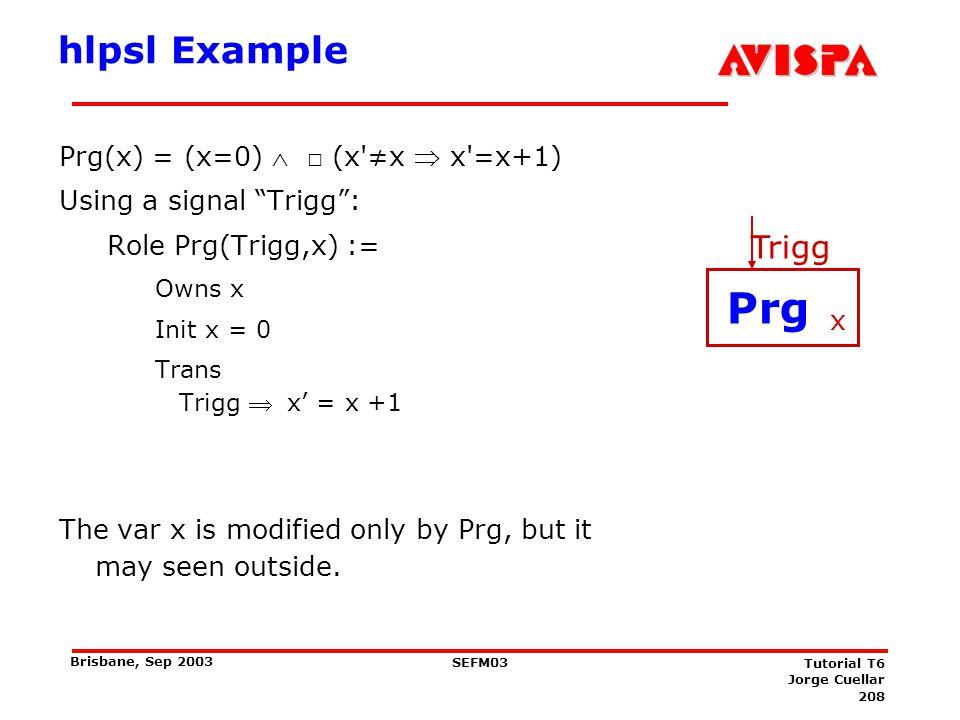 TLA Example V={x,y} Let Prg(x) = (x=0)  □ (x ≠x  x =x+1)