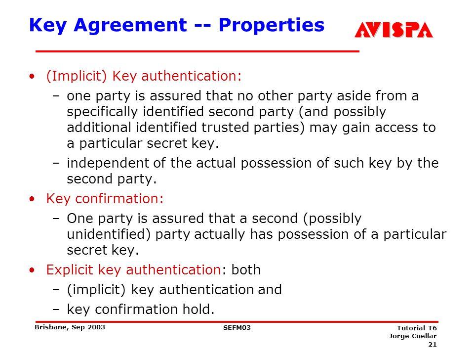 Key Agreement -- Properties