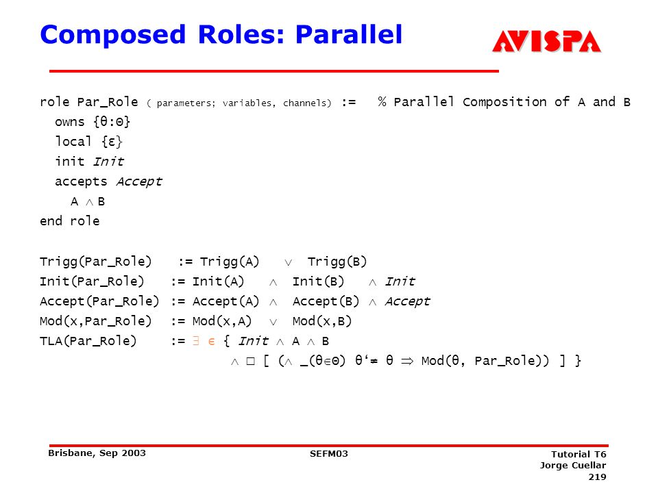 Composed Roles: Seq role Seq_Role ( parameters; variables, channels) := %Sequential Composition of A and B.