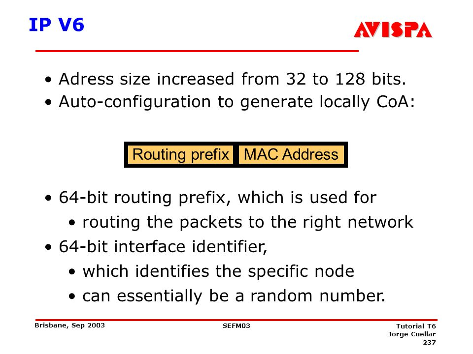 Mobile IPv6 MN is identified by a home IP address (HoA)